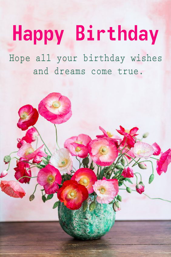 Happy Birthday Flower With Quotes - Happy Birthday Wishes, Memes, SMS & Greeting eCard Images
